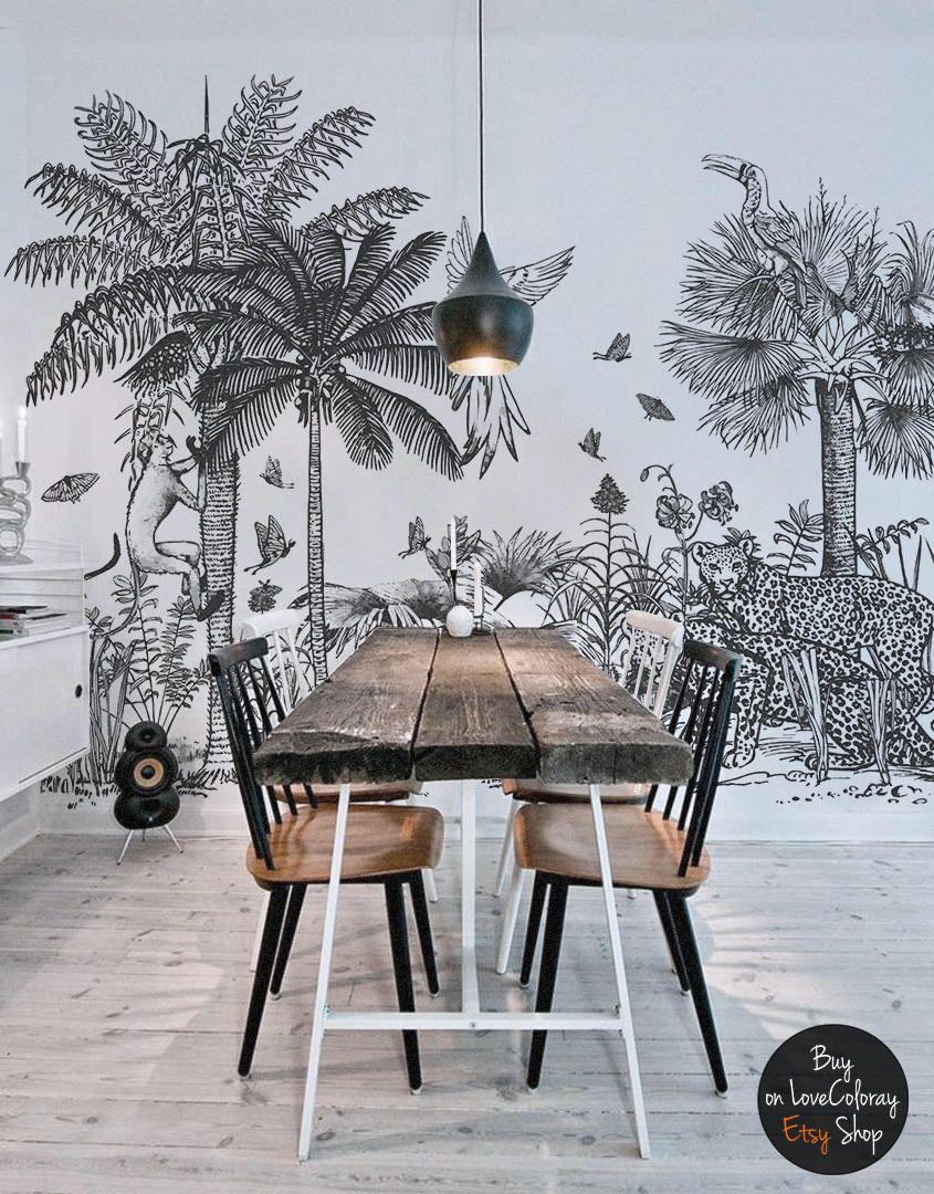 Safari Removable Wallpaper Peel And Stick Tropical Wall Etsy Jungle Wallpaper Black And White Wall Art White Wall Art