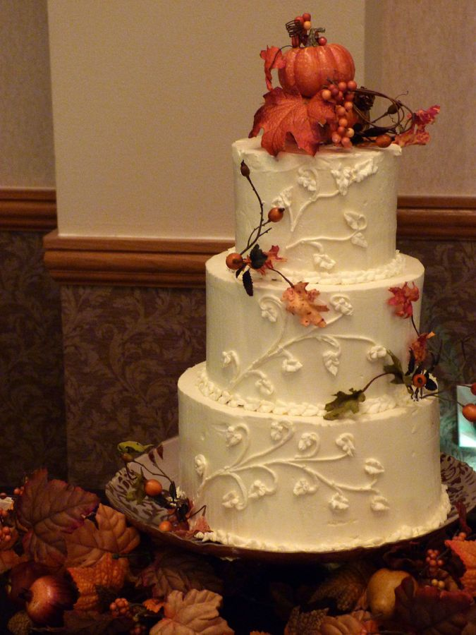 Buttercream Fall Wedding Cake With Gum Paste Leaves And