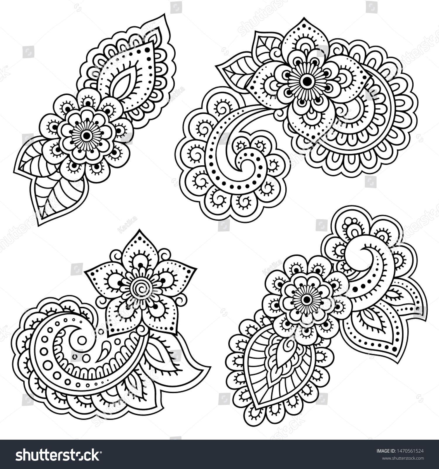 Vetor stock de Set Mehndi Flower Pattern Henna Drawing (livre de direitos) 1470561524