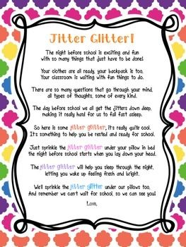 picture about Jitter Glitter Poem Printable called Again Toward College or university / Finish OF 12 months! Jitter Glitter, Welcome Letter