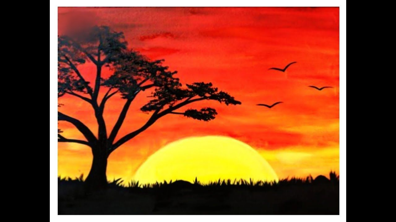 Sunset Landscape Scenery Drawing With Oil Pastels Sunrise