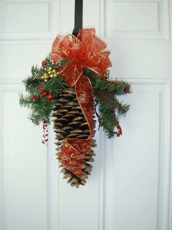 Sugar pine cone door swag via etsy christmas for Pine cone door decoration