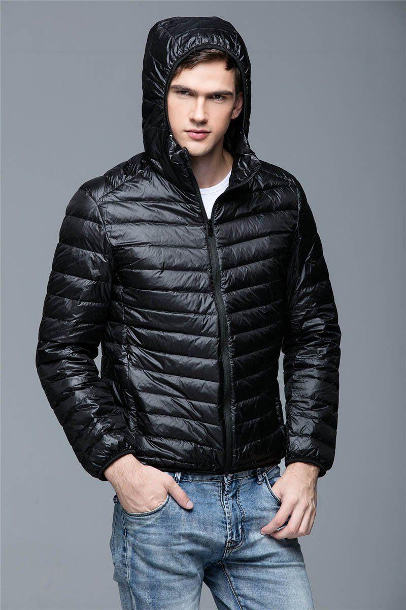 f560f9b8880 Plus Size Men Parka Winter Hooded Jacket Coat 90% White Duck Down Coat  Ultra Light Male Jacket Men Casual Hooded Outerwear