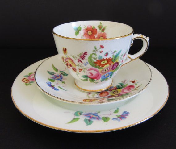 George Jones Sons Crescent Junetime Bone China Trio 1920s Pretty Cups George Jones Tea Cups