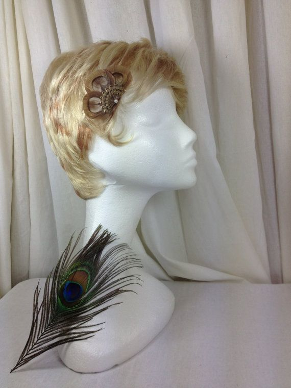 Brown peacock feather eye antiqued bronze fan and by MAsMadHouse, $18.00