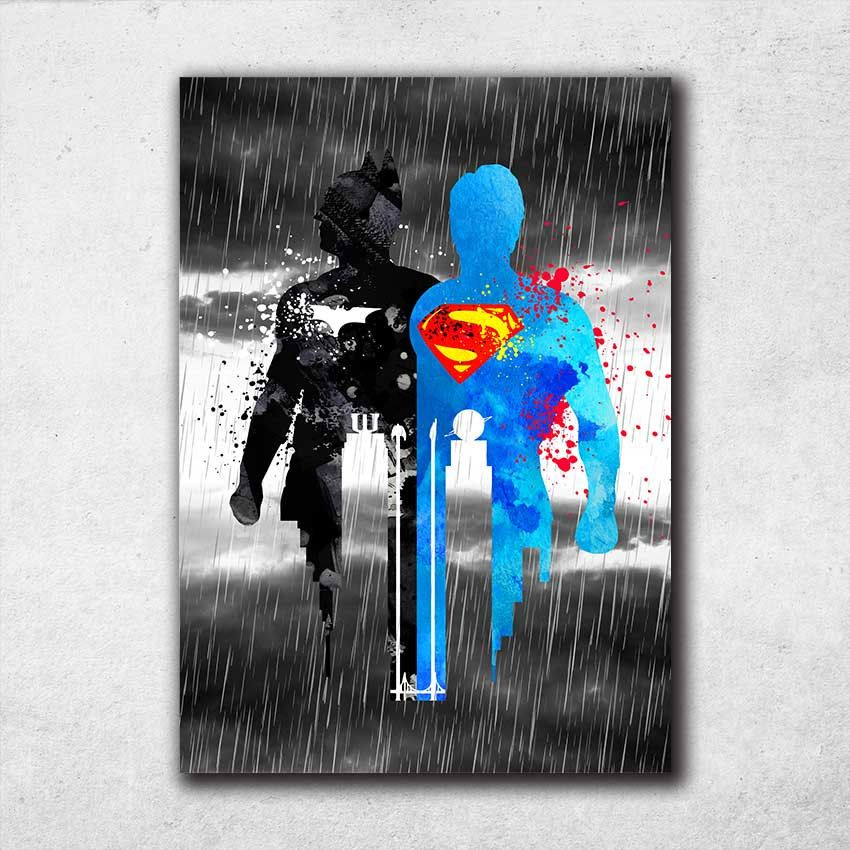Batman VS Superman Poster, Watercolor Print, Justice