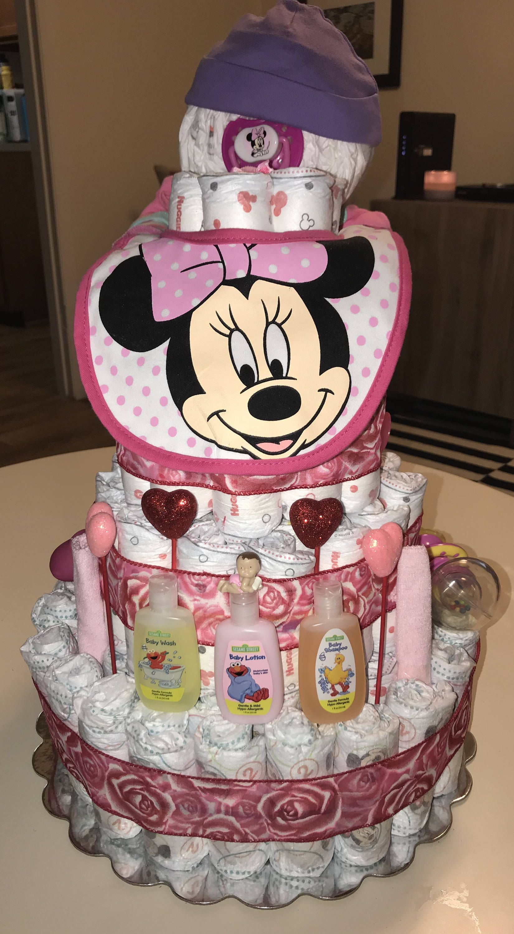 Minnie Mouse Diaper Baby And Diaper Cake T Set
