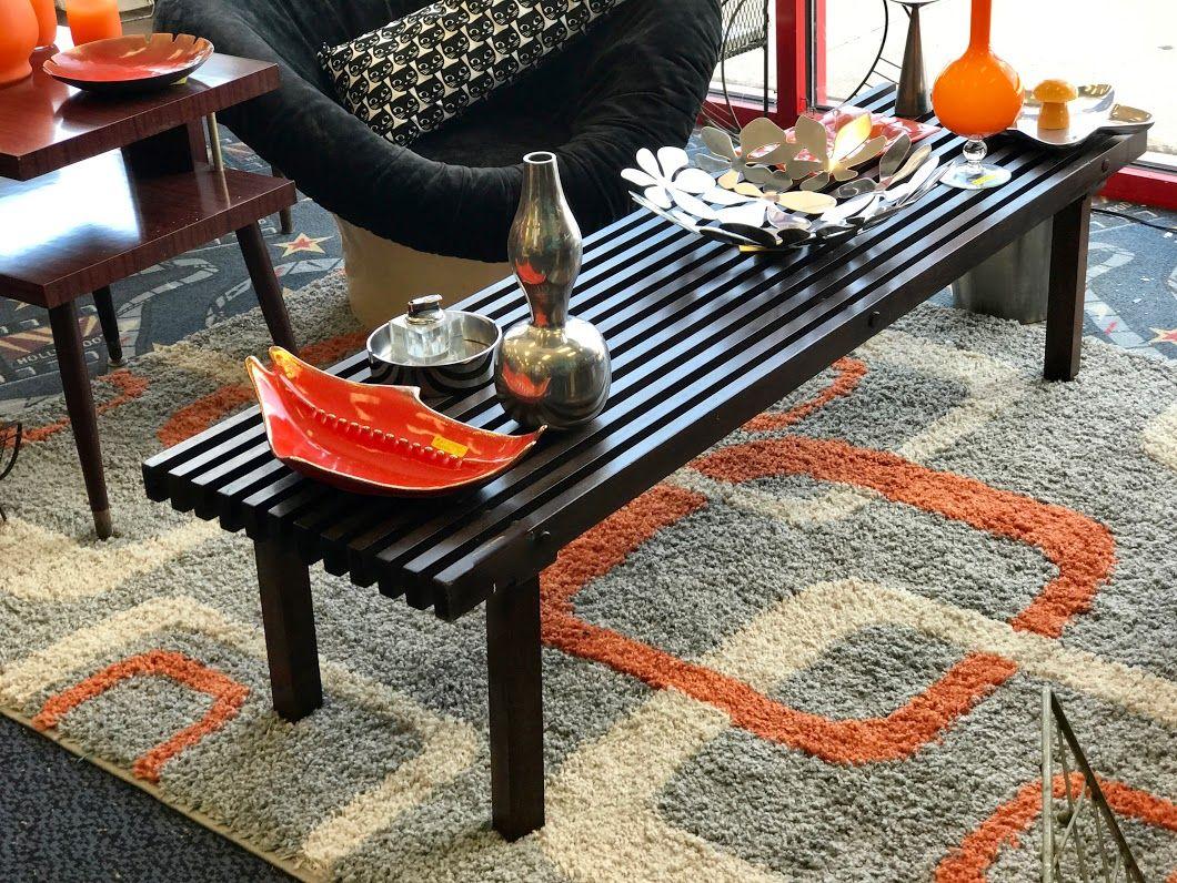 Mid century modern slated coffee table on sale 60 wide x 17 deep mid century modern slated coffee table on sale 60 wide x 17 deep x geotapseo Gallery
