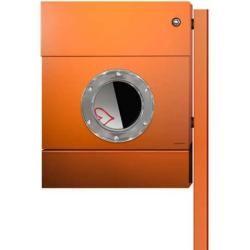 Radius Design Letterman 2 Briefkasten orange (ral 2009) mit Klingel in blau ohne Pfosten Radius Desi