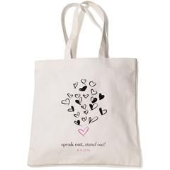 "Empowerment Tote Limited Edition. Let's empower women together! Printed canvas tote bag for ""Speak Out Against Domestic Violence"" campaign. Features double  handles and one inside pocket. The outside is decorated with a cluster of black hearts scattered on the front with one pink heart above the phrase ""speak out, stand out!"""