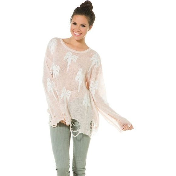 WILDFOX light pink and white Palm tree sweater Is size S but is pretty big could fit a size S-XL. Good condition only wore it once. WILDFOX brand. Wildfox Sweaters