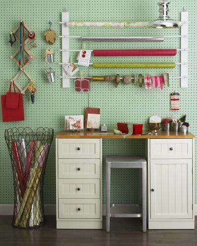 turquoise pegboard. love the drawers & cabinet desk