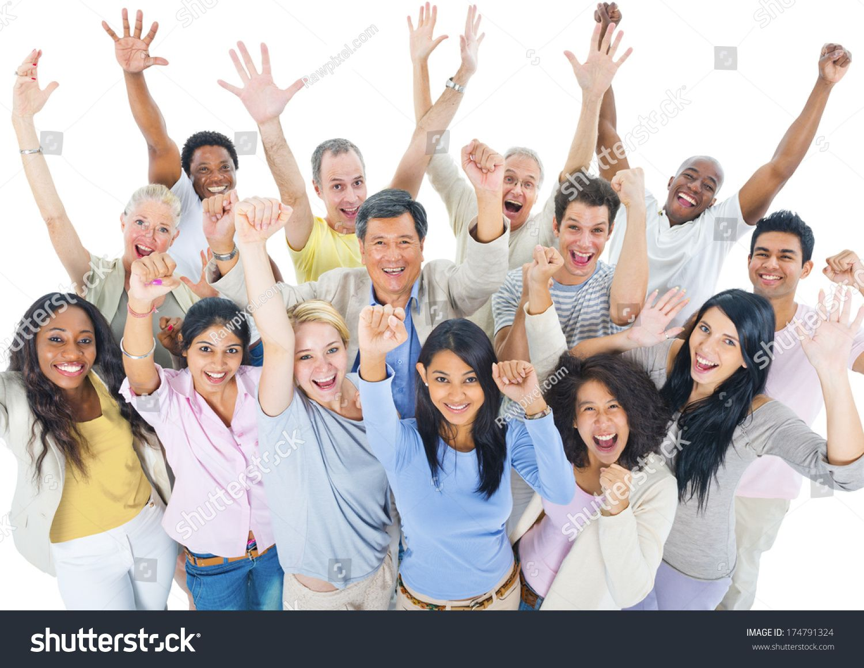 Large Group of People Celebrating ,