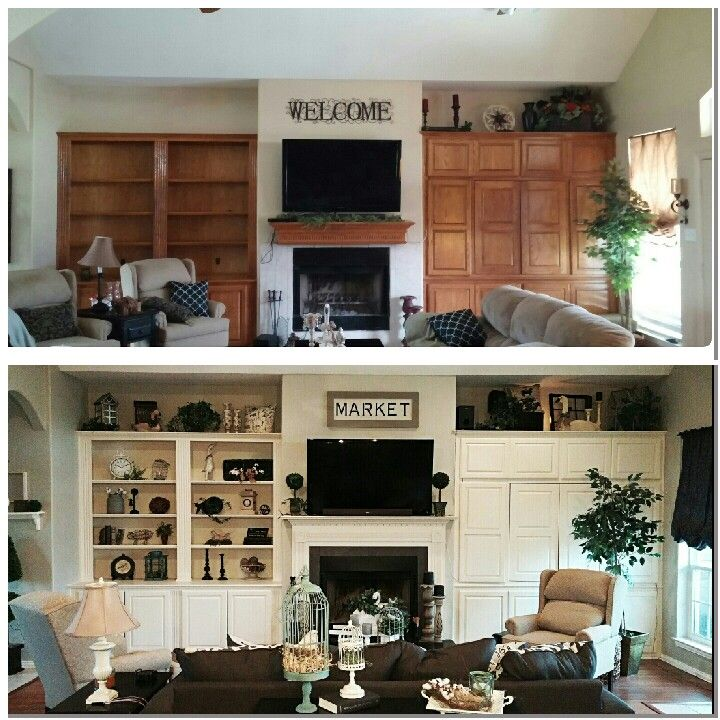 Before And After Using Reclaim Beyond Paint In Off White Built In Shelves And Cabinets Built In Shelves Living Room Living Room Built Ins Painted Built Ins