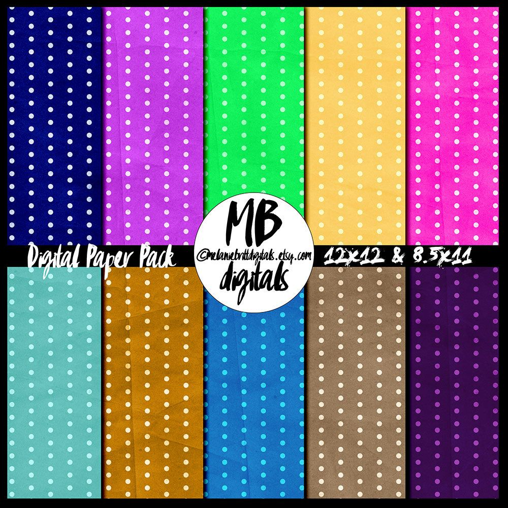 Digital papers, printable, bright dots, digital scrapbooking, commercial use by MelanieBrittDigitals on Etsy
