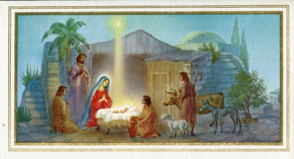 Vintage Norcross Christmas Card: Nativity Scene