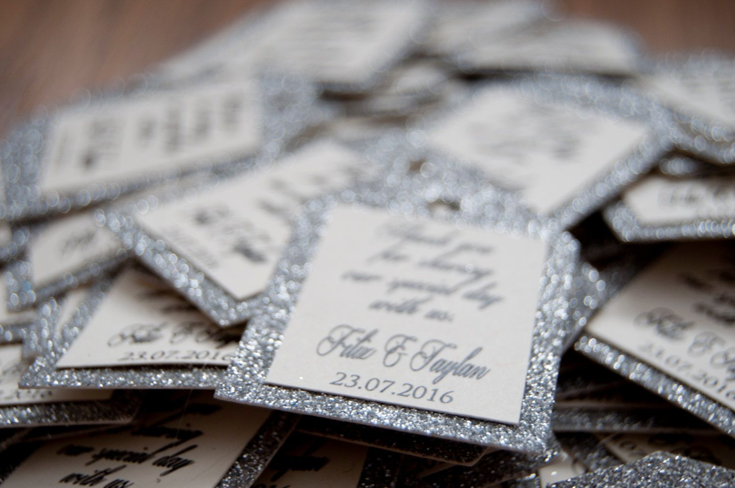 10x Silver Glitter Thank You Favour Tags/Gift Tags | Silver glitter ...