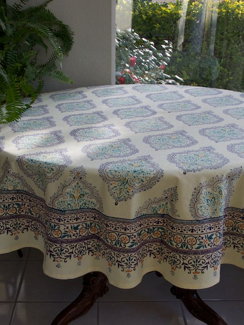 Elegant Yellow Blue French Round Tablecloth: Use Our Colorful Cotton  Tablecloths To Set The Mood