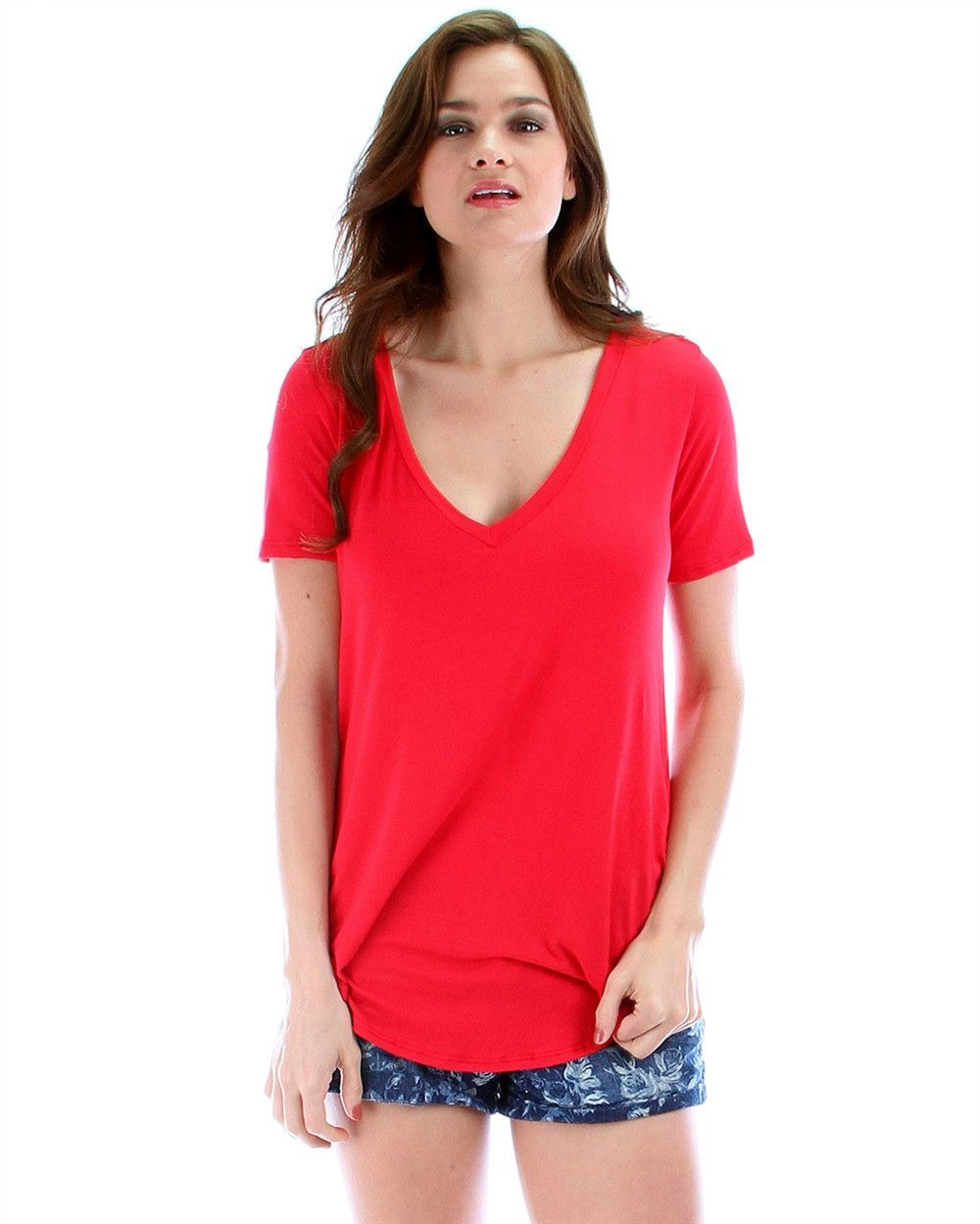 Madly Deep-V Neck Tunic Top In Red