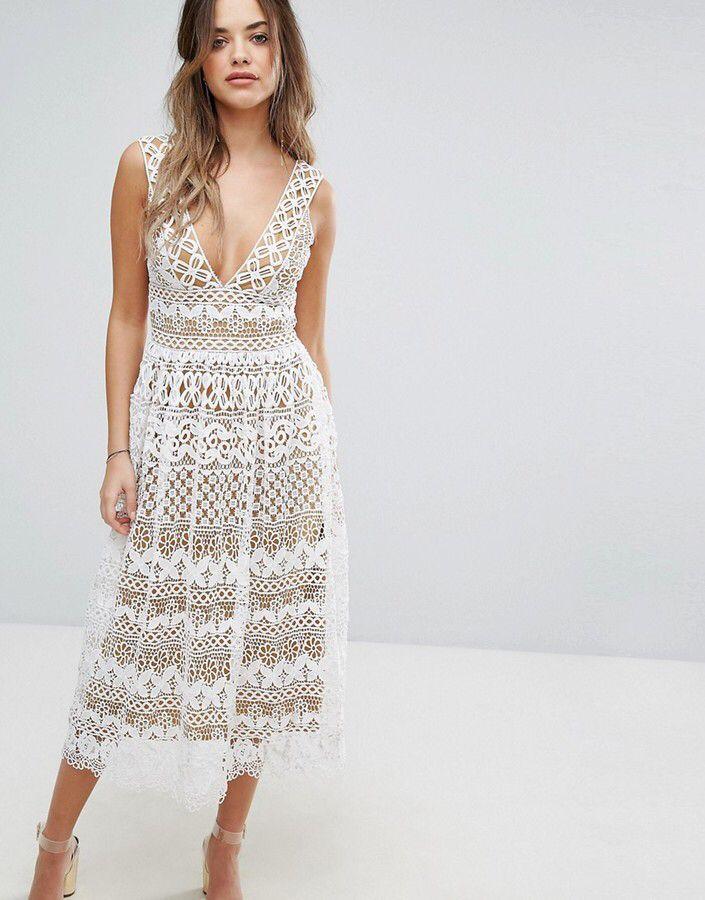 2a14e7bae841 Boohoo V Neck Midi Lace Dress