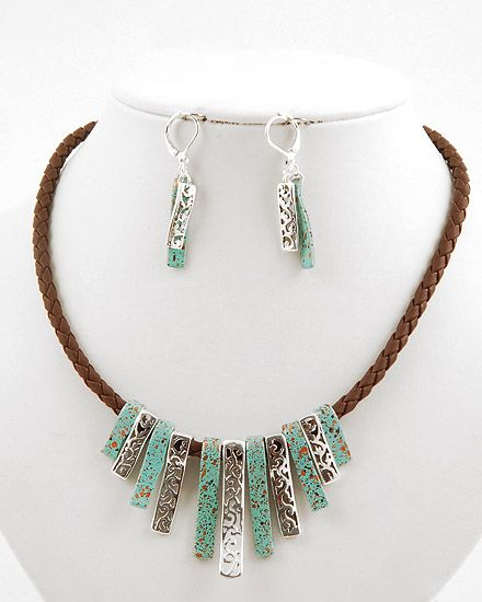 Silver Tone Metal / Turquoise Acrylic & Brown Cord / Lead Compliant / Graduating / Filigree / Necklace & Fish Hook Earring Set
