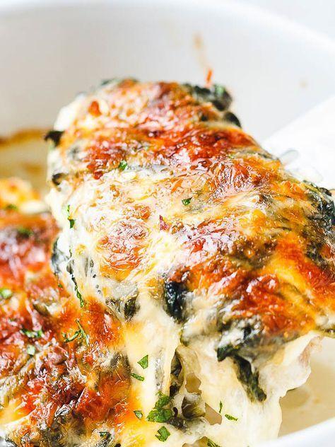 Spinach Chicken Casserole with Cream Cheese and Mozzarella #creamcheeserecipes