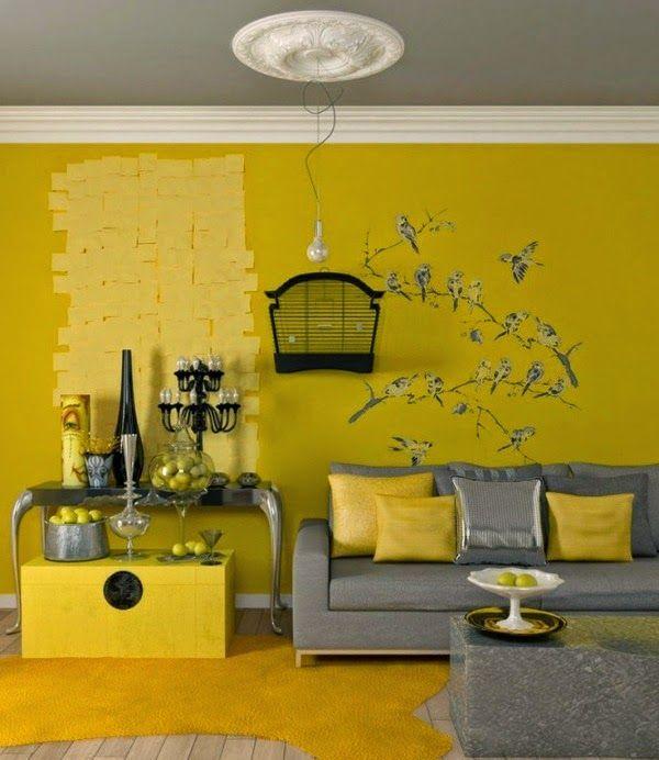 Diseno De Salas En Amarillo Y Gris Ideas De Salas Con Estilo Sala De Estar Amarilla Diseno De Interiores Colores Para Sala