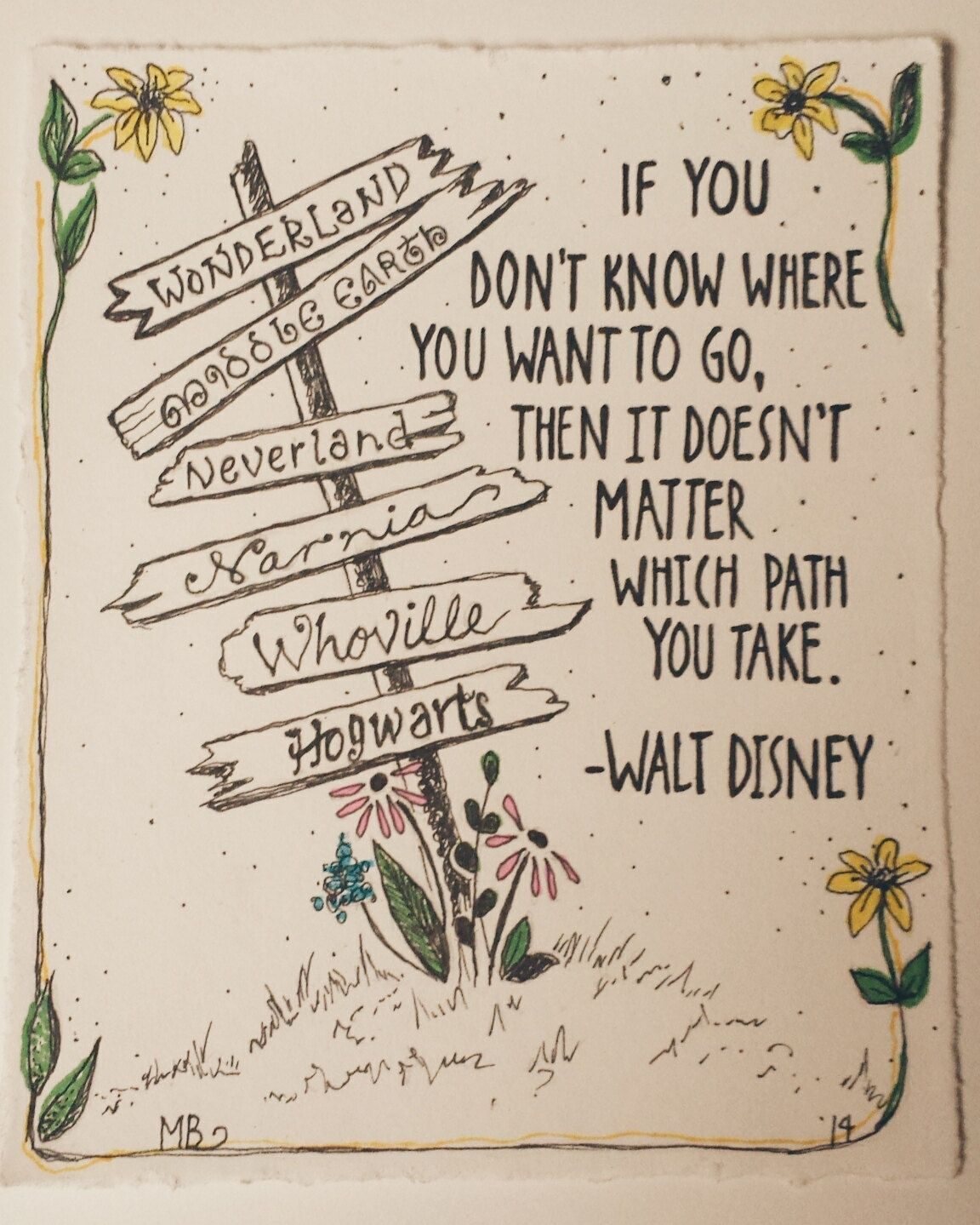Disney Quote: PRINT Disney Quote, Deco Art Ink Illustration, Alice In