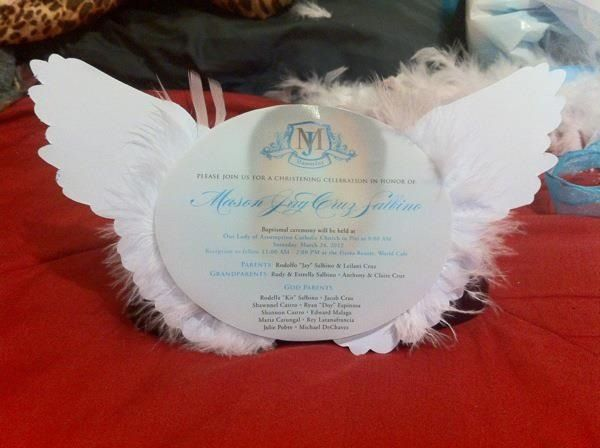 Angel themed christening invite Invites such Pinterest