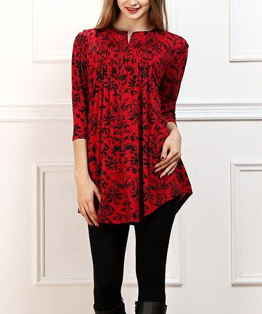 806a53c3b60 Another great find on #zulily! Red & Navy Damask Notch Neck Tunic - Women  #zulilyfinds