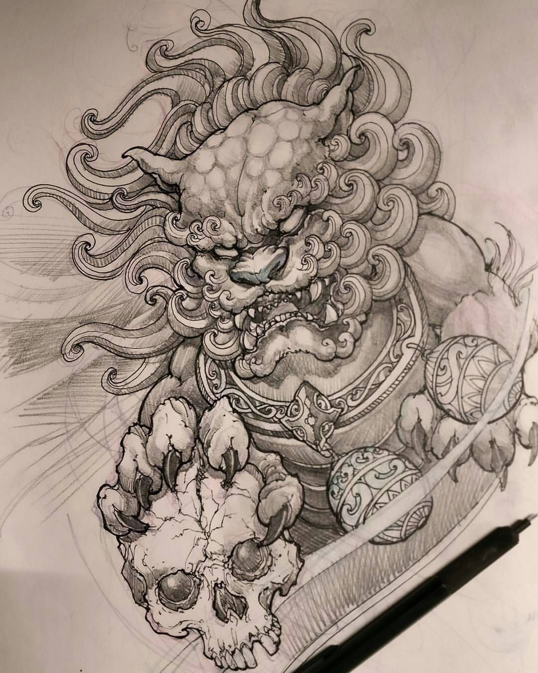 See This Instagram Photo By Worldofpencils 21 7k Likes Foo Dog Tattoo Design Foo Dog Tattoo Tattoo Designs