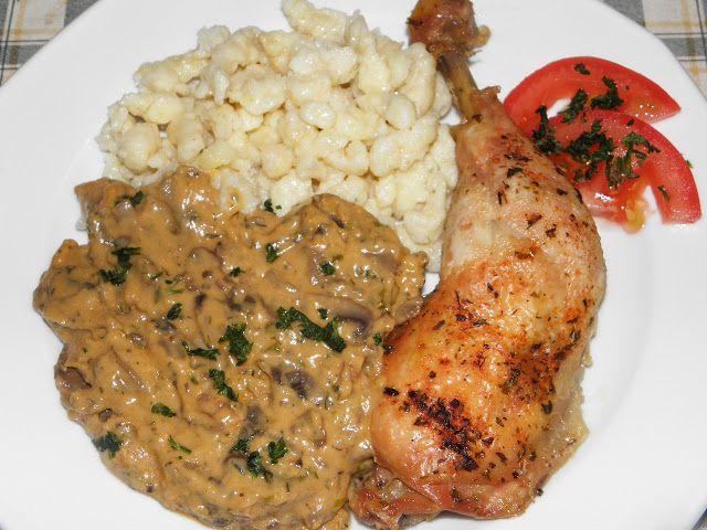 Karcsi főzdéje: Bakonyi sült csirkecomb zabpelyhes galuskával