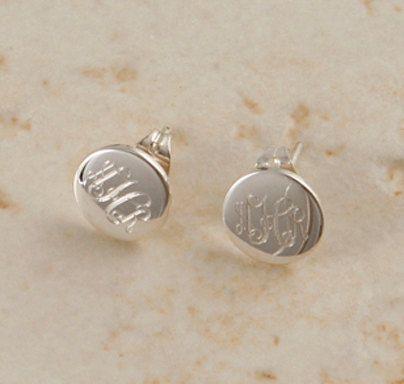 Monogrammed Sterling Silver Round Post By Emilyrosejewellery 29 00