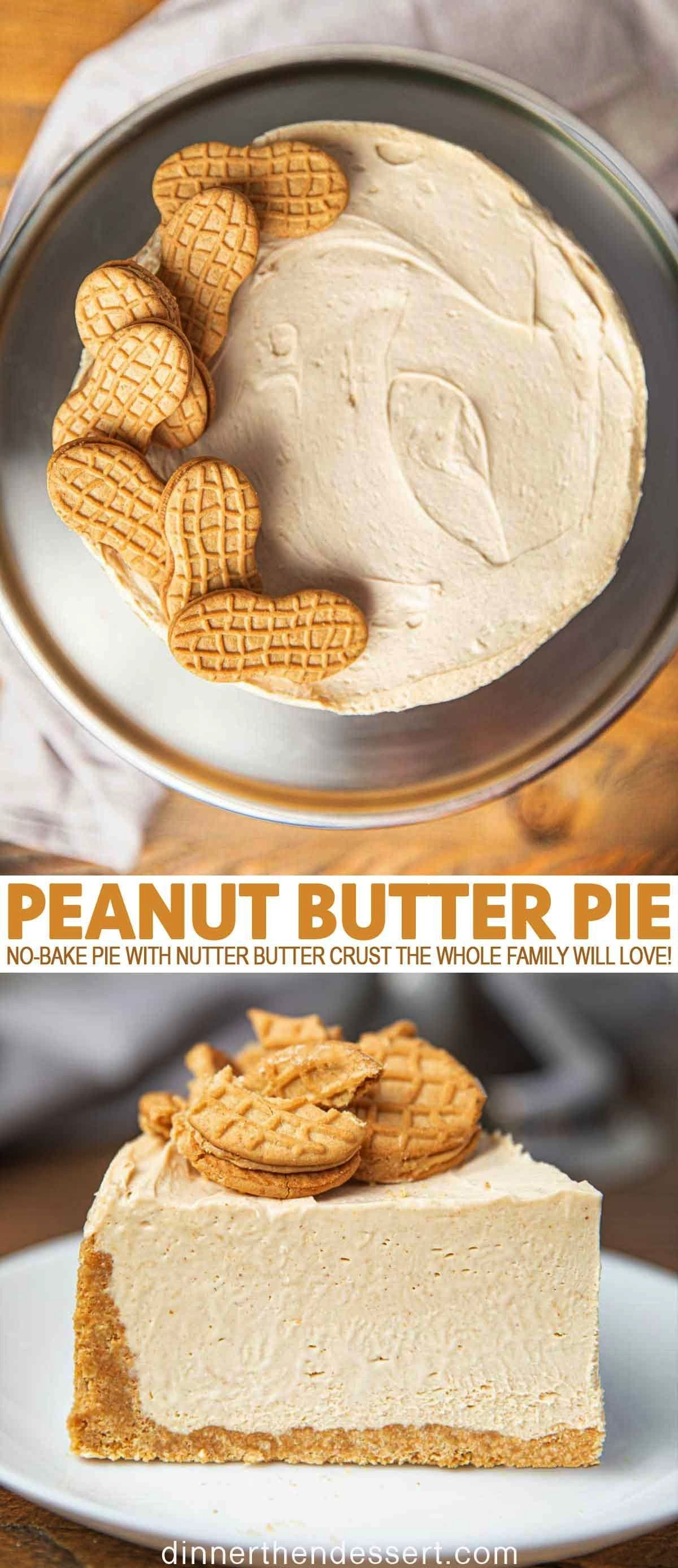 Butter Pie is an easy no-bake pie with nutter butter crust and fluffy whipped peanut butter and cre
