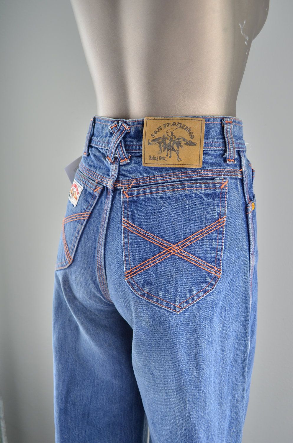 dea402d67 1970s high waist jeans  Vintage 70s jeans   San Francisco Riding Gear. .  (THOUGHT WE WERE SO COOL IN THESE LOVED THEM)
