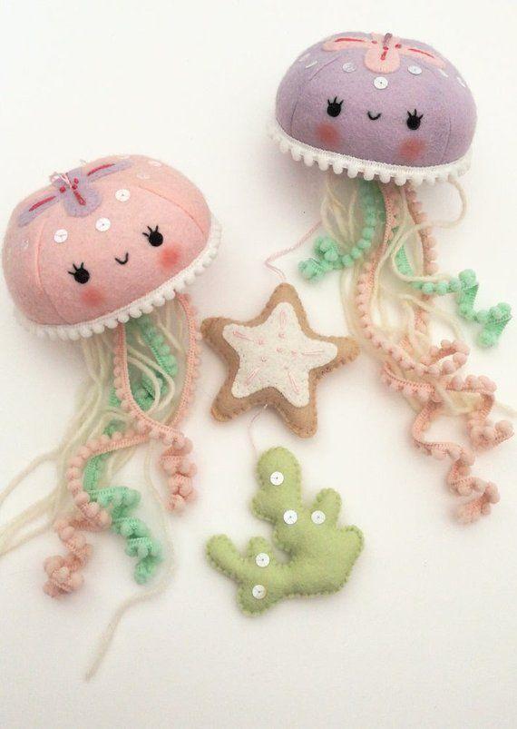 Photo of Felt PDF pattern – Cute jellyfish baby crib mobile – Felt jellyfish, starfish and seaweed ornaments, nautical nursery decor, digital item