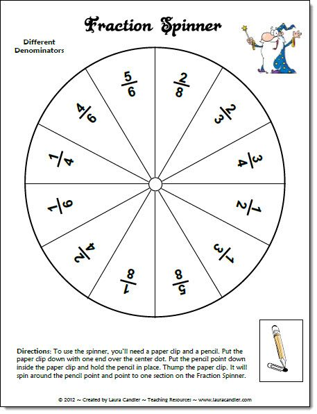 Adaptable image with adding and subtracting fractions game printable
