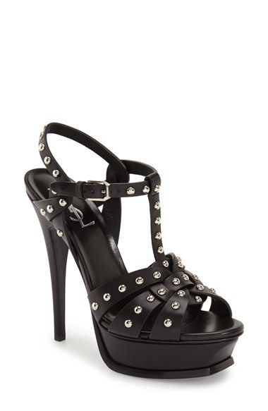 d18783705 Saint Laurent 'Tribute' Studded T-Strap Platform Sandal (Women ...