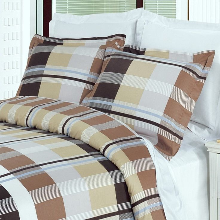 Plaid Beige Brown Cotton Duvet Cover Set Mens Bedding Sets
