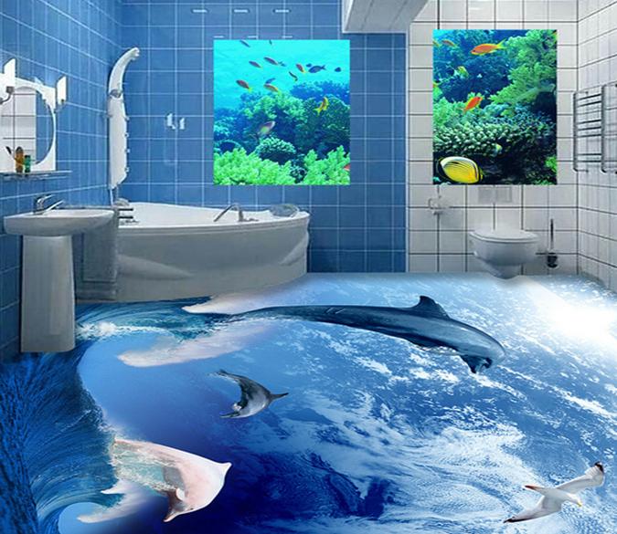 3d Dolphin Jumping 012 Floor Mural Aj Wallpaper In 2019 Floor Murals Floor Wallpaper Flooring