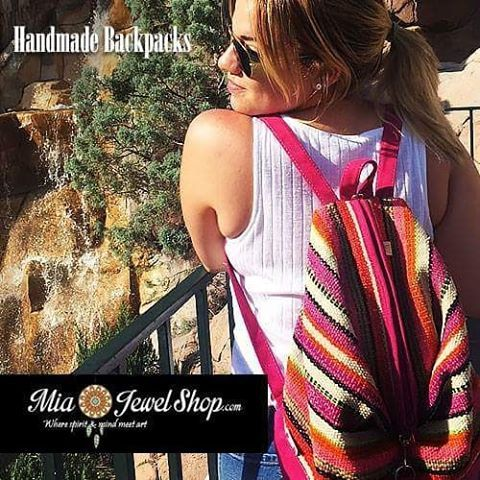 """Check out our """"Woven Wool Suede Medium Backpack"""" in Hot Pink! Be prepared for any adventure; this backpack comfortably fits and carries all your essentials. Find it at www.miajewelshop.com or etsy.com/shop/miajewelshop :)    #miajewelshop #onlineshopping #backpacks #adventure #hotpink #wool #leather #suede #mediumbackpacks #backpack #bookbag #bag #peruvian #travel #multicolored #etsy #handmade #handmadebags #handmadebackpacks"""