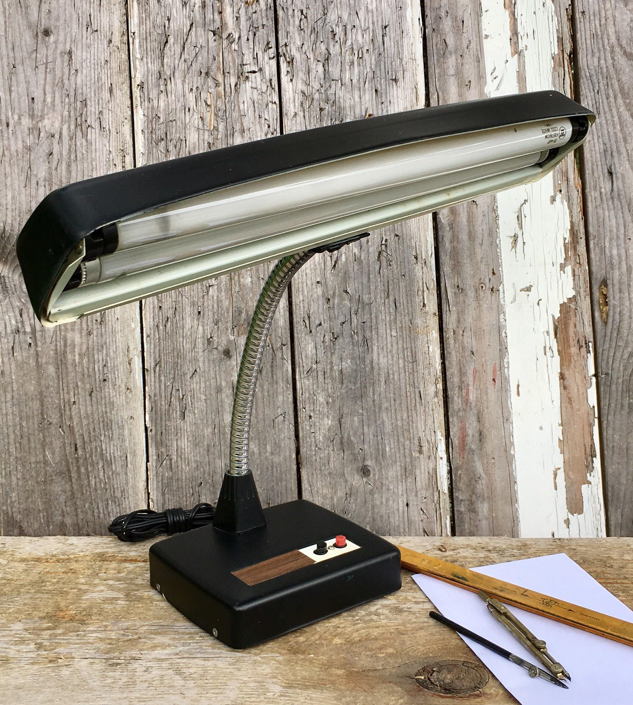retro office decor. Vintage Industrial Adjustable Fluorescent Desk Lamp Mid Century Gooseneck Retro Office Decor By LoftAtticEarth E