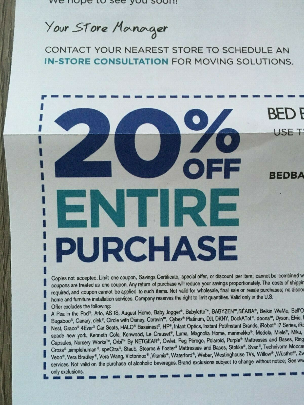 Bed Bath and Beyond 20% Off ENTIRE PURCHASE Coupon Exp. 2/11/2020