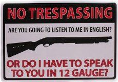 Rivers Edge Products No Trespassing 12 Gauge Tin Sign, 16-Inch