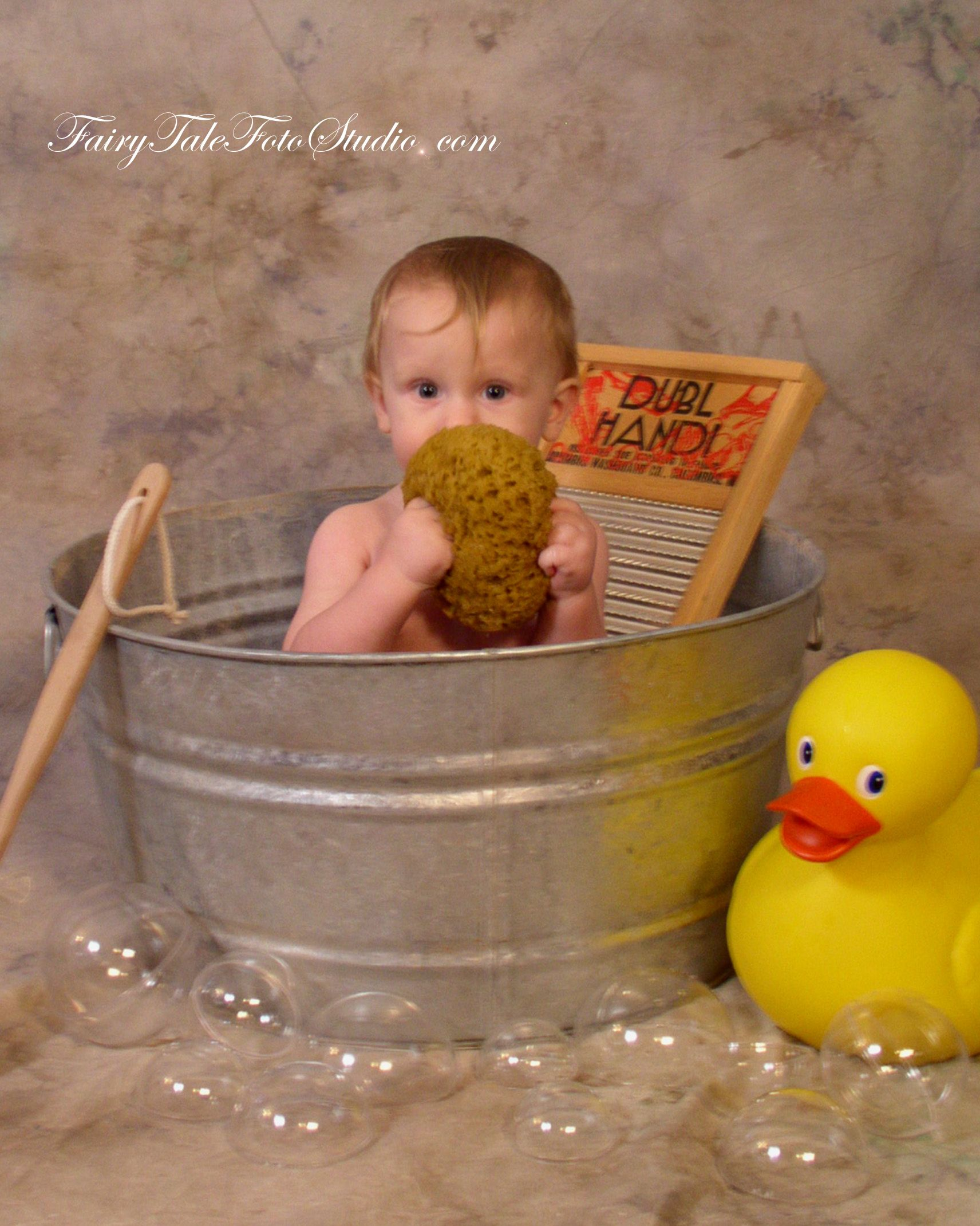 Baby Boy in Old Fashioned Washtub with Washboard and Giant Rubber ...
