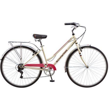 700C Women's Schwinn Fahrenbrook Hybrid Bike, Cream, White