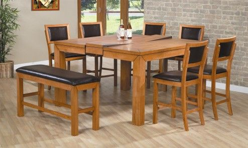 Furniture, Best Up To 8 Seaters Square Wooden Expanding Table Complete With Side Chairs And Bench As Unique Expanding Table Sets Design Ideas ~ Attractive Expanding Dining Tables for Room Efficiency
