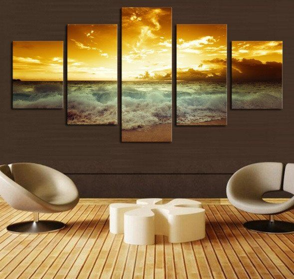 Stunning Surfing Sea And Sky  5 Pcs Wall Art Canvas Printed Picture