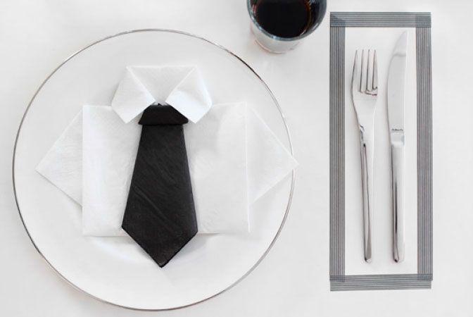 Cool napkin for boys party - Konfirmasjonsdag for gutter; hvordan brette servietten
