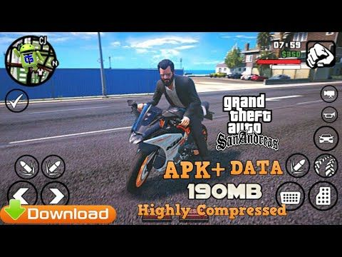 Gta San Andreas Apk Data 190mb Highly Compressed Download Youtube Gta Game Gta 5 Online San Andreas Game